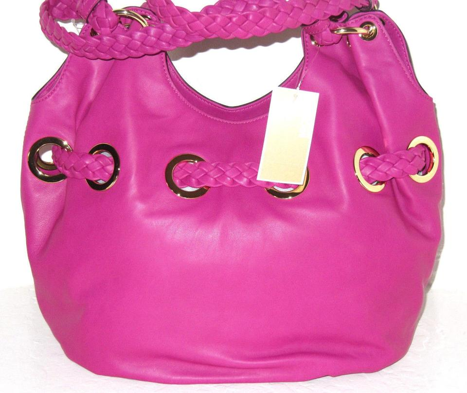 704027a93737 Michael Kors New Braided Grommet Large Retails A Steal For The Price  Pink/Fuchsia Leather Shoulder Bag - Tradesy