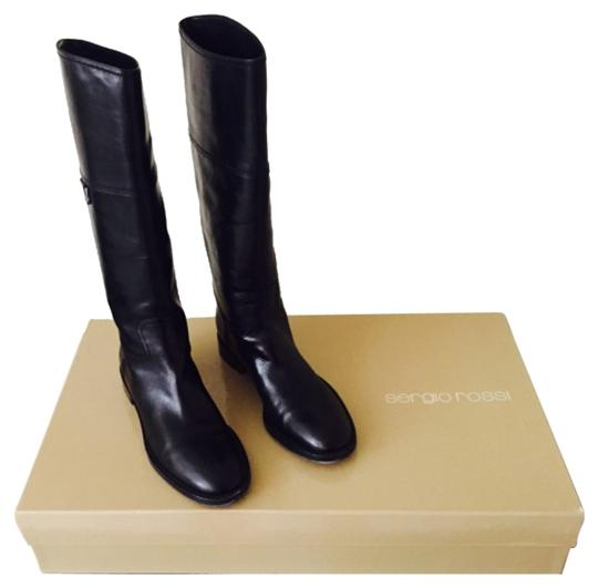 Sergio Rossi Leather Riding Riding Flat Flat Fashion Blac Boots