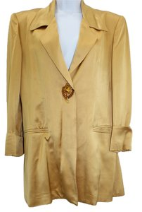Christian Llinares Satin Yellow Gold Silk Jacket Blazer