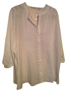 Tantrums Blouse Sheer Pintuck Button Down Shirt White