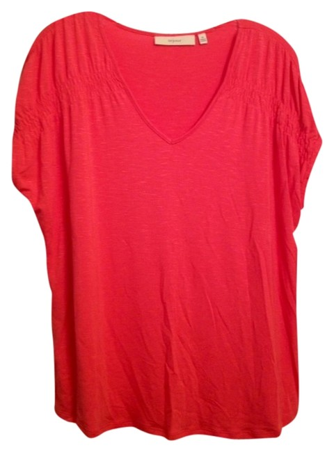 Item - Coral Spice Shirred Shoulder Tee Shirt Size 20 (Plus 1x)