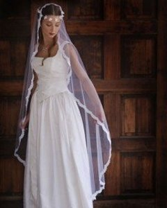 Diamond/Silk White Long Erika Koesler Cathedral Mantilla Venice Lace Bridal Veil