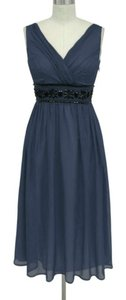 Blue Navy Goddess Beaded Waist Formal Dress