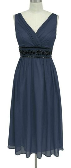 Blue Chiffon Goddess Beaded Waist Cocktail Formal Bridesmaid/Mob Dress Size 12 (L)