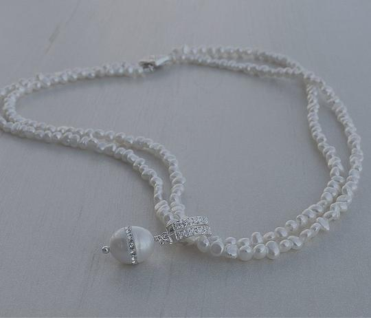 Diamond/Silk White/Sterling Silver Crystal Inlaid Pearl Freshwater Pearl Necklace