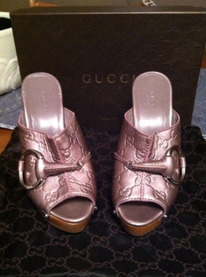 Gucci Leather Horsebit Metallic Purple Mules