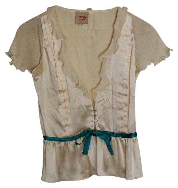 Twinkle by Wenlan Top Cream Silk w Teal waist accent