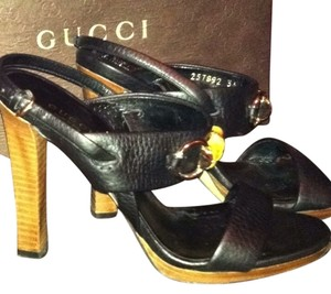 Gucci Leather Bamboo Slingback Horsebit 5inch Heels Black Leather Sandals