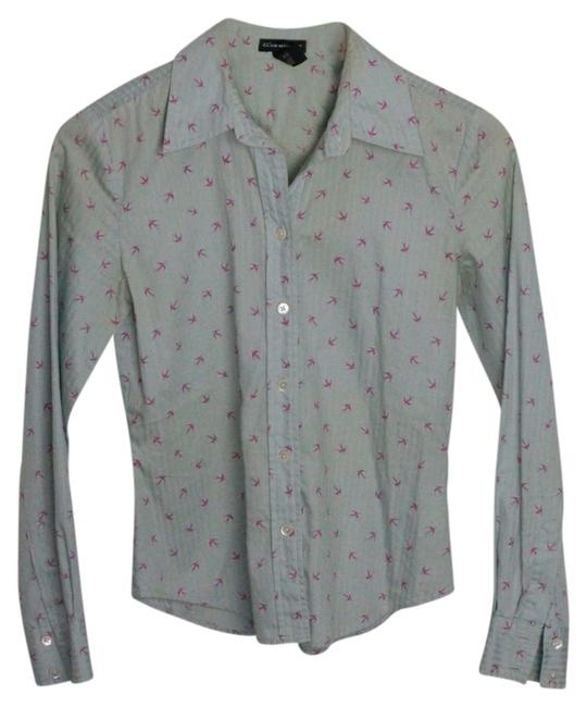 Club Monaco Button Down Shirt Pale Blue with Hot Pink Swallows