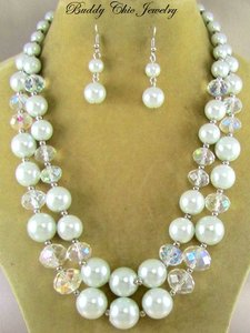 Pearl Chunky Ab Crytsals Reception Necklace