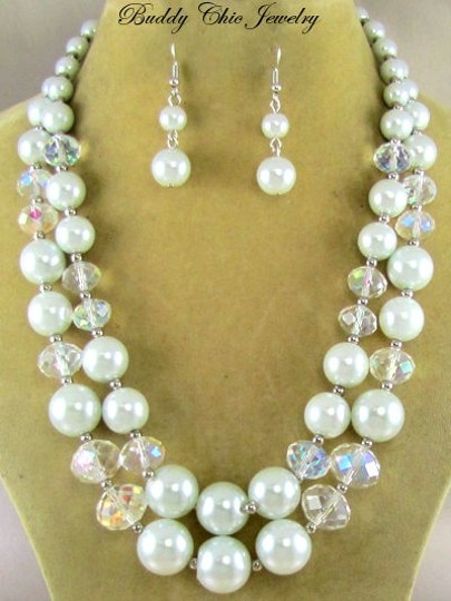 Chunky Ab Crytsals Pearls Wedding Reception Necklace Set