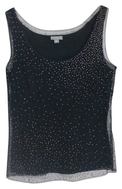 Ann Taylor Top Black Dressy Silk/Cashmere Tank Top with Black Mesh Overlay & Gold Beads