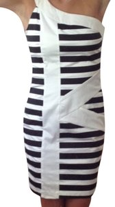 Lucy Paris short dress Navy and White One Shoulder Striped Bodycon on Tradesy