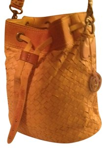 Elliott Lucca Pig Leather Basket Weave Body All Metal Embellishments Very Cool Shoulder Bag