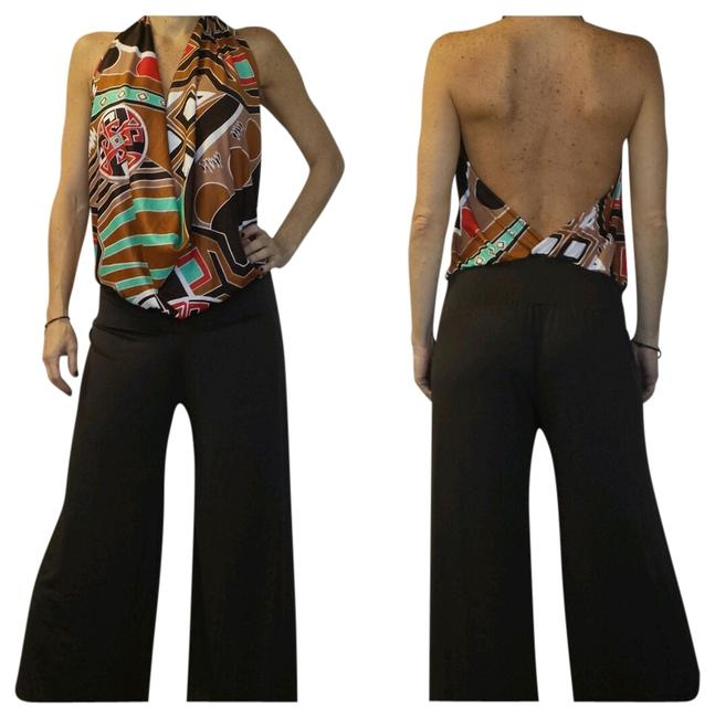 Preload https://item4.tradesy.com/images/brown-and-printed-sexy-long-romperjumpsuit-size-os-one-size-559038-0-0.jpg?width=400&height=650