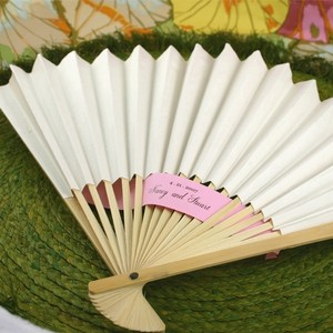 100 White Paper Fans - Wedding Favors