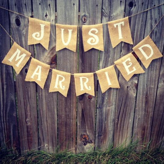 "Burlap ""just Married' Banner"