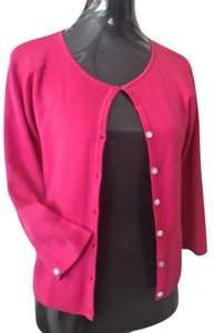 Apostrophe Petite Pink 3/4 Sleeve Cotton Fuchsia Mother Of Pearl Cardigan