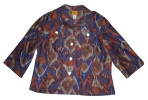 Ruby Rd. Button Down Shirt Orange/ Multi-Color