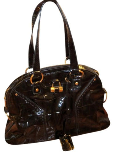 Saint Laurent Croc-printed Patent Leather Ysl Muse Tote in Black