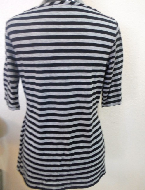 Max Studio Dolman Sleeve T Shirt black and blue grey stripe