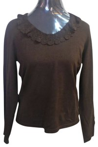 Ralph Lauren Brown Lauren By Lace Collar Sweater