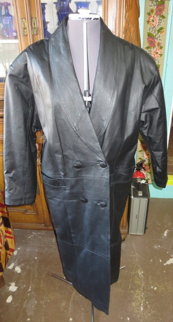 COMINT Leather Full Length Double Breasted Trench Style Trench Coat