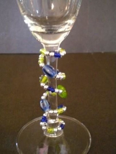 Clear Champagne Flutes with Beaded Stems