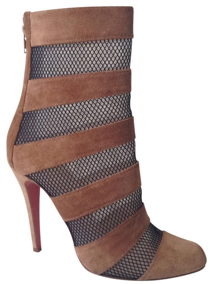 Christian Louboutin Brown & Black Mid Calf Mesh Ankle Mesh Calf 39 1/2 39.5 1/2 Boots/Booties 6a3c3b