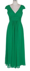 Green Chiffon Long Elegant Pleated Waist Mini Sleeves Modest Bridesmaid/Mob Dress Size 8 (M)