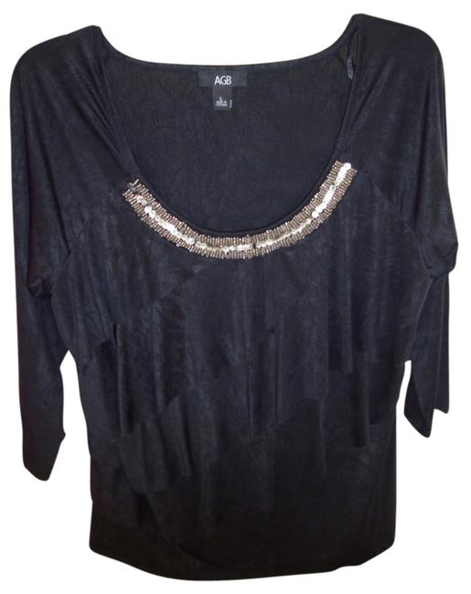 AGB Asymmetric Tier Beaded Neckline Tiered Studded Top Black