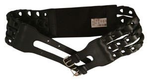 Express Woven Leather and Stretchy Multi-clasp Belt