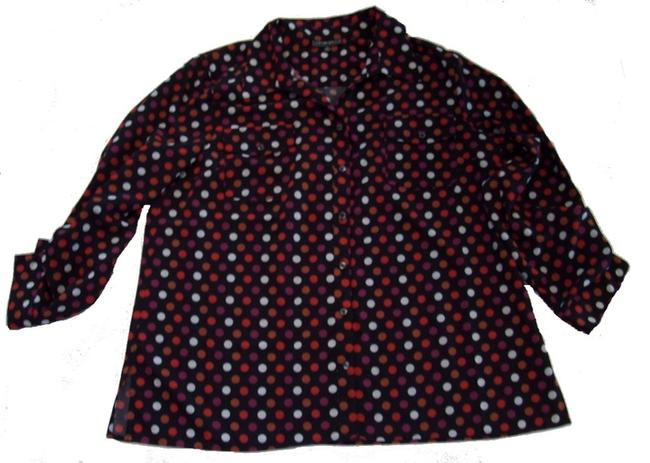 Elementz Point Collar Button Front Polka-dot Prin Hits At Hip 3/4 Sleeve Button Down Shirt Red Multi-Color