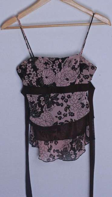 Mimoa Top Chocolate Brown w dusty pink flowered print