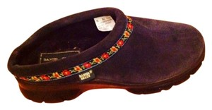 Daniel Green Leather Seude Blue Navy With Black Sole Mules