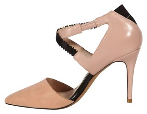 French Connection Tan Beige Crisscross Strap Blush and Black Pumps