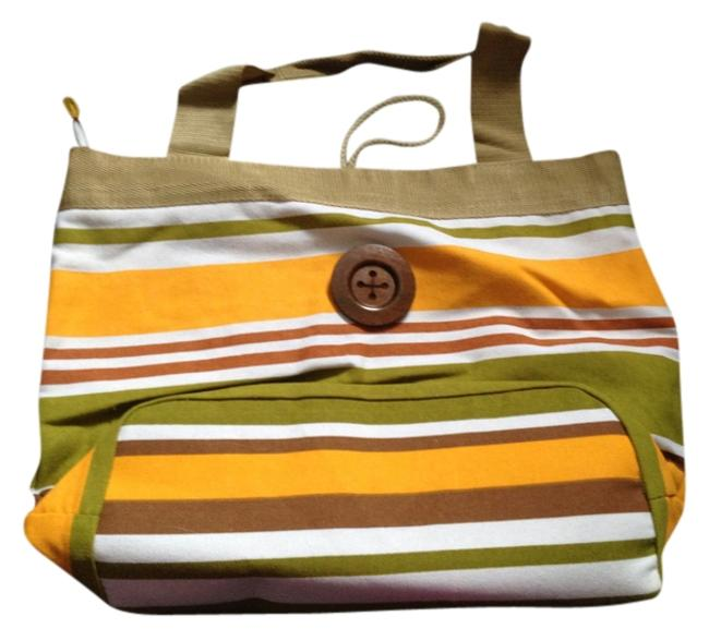 Item - White Green and Yellow Canvas Tote