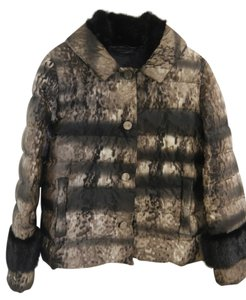 Prada Designer Collection Dark Mink Detail At Neck And Sleeves Brown ombre effect Jacket