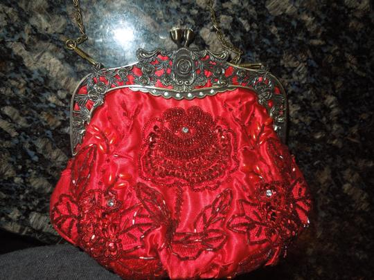Other Satin Beaded Sequined Clutch Purse Baguette