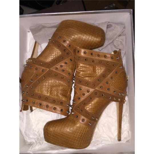 Brian Atwood Studded Snakeskin Python Limited Edition Metallic Supple 6inches Ombre Hidden Platform Neutral Boots