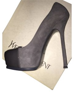 Saint Laurent Leather Patent Classic Spectator Suede Grey Pumps