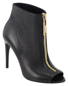 Burberry Fashion Peep Toe Leather Italy Heel Ankle Zipper Black Boots