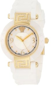 Versace Versace Women's Reve IP Yellow-Gold White Ceramic Rubber Watch