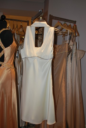 Ivory Satin Rehearsal Dinner Casual Dress Size 8 (M)