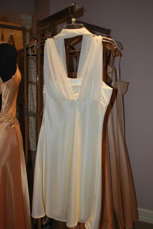 Ivory Satin Rehearsal Dinner Casual Bridesmaid Mob Dress Size 8 M