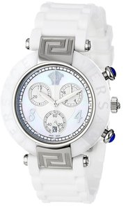 Versace Versace Women's Reve Ceramic Bezel Chronograph White Rubber Watch 92CCS1D497 S001
