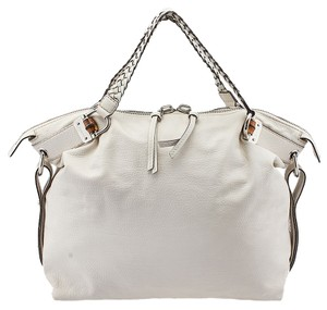 Gucci Bamboo Bar Leather Tote in White