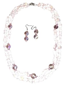 Strawberry Quartz Glass Bead Necklace Set