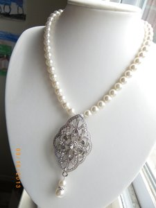 Other Crystal Pearl Bridal Necklace Victorian Wedding Swarovski Jewelry White Pearl Bridal Necklace Statement Bridal Necklace
