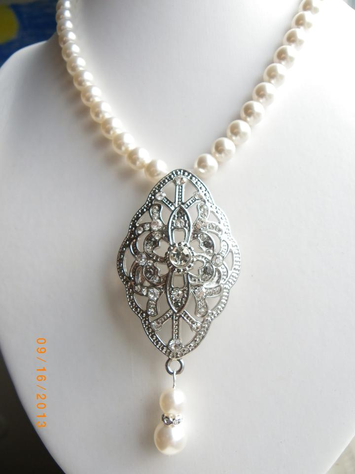 Handmade Crystal Pearl Bridal Necklace Victorian Wedding